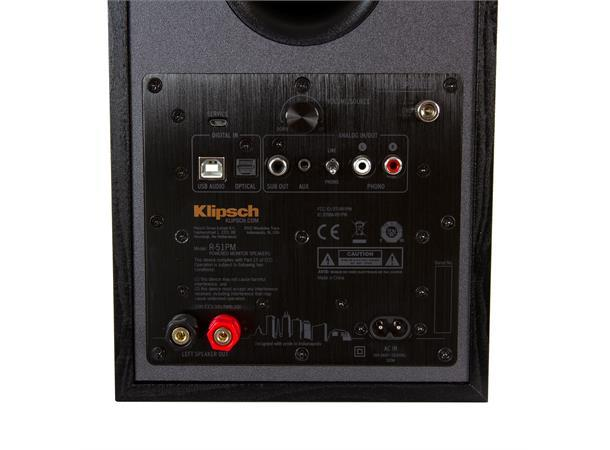 1066255 Klipsch  Klipsch R-51PM aktiv høyttaler, sort Bluetooth, USB, optisk, RIAA, par