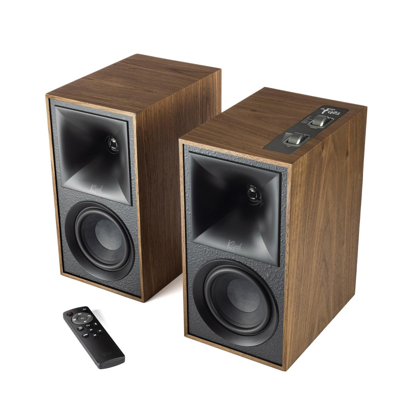 1067563 Klipsch  Klipsch The Fives, Walnut Aktive høyttalere, Bluetooth, HDMI, par